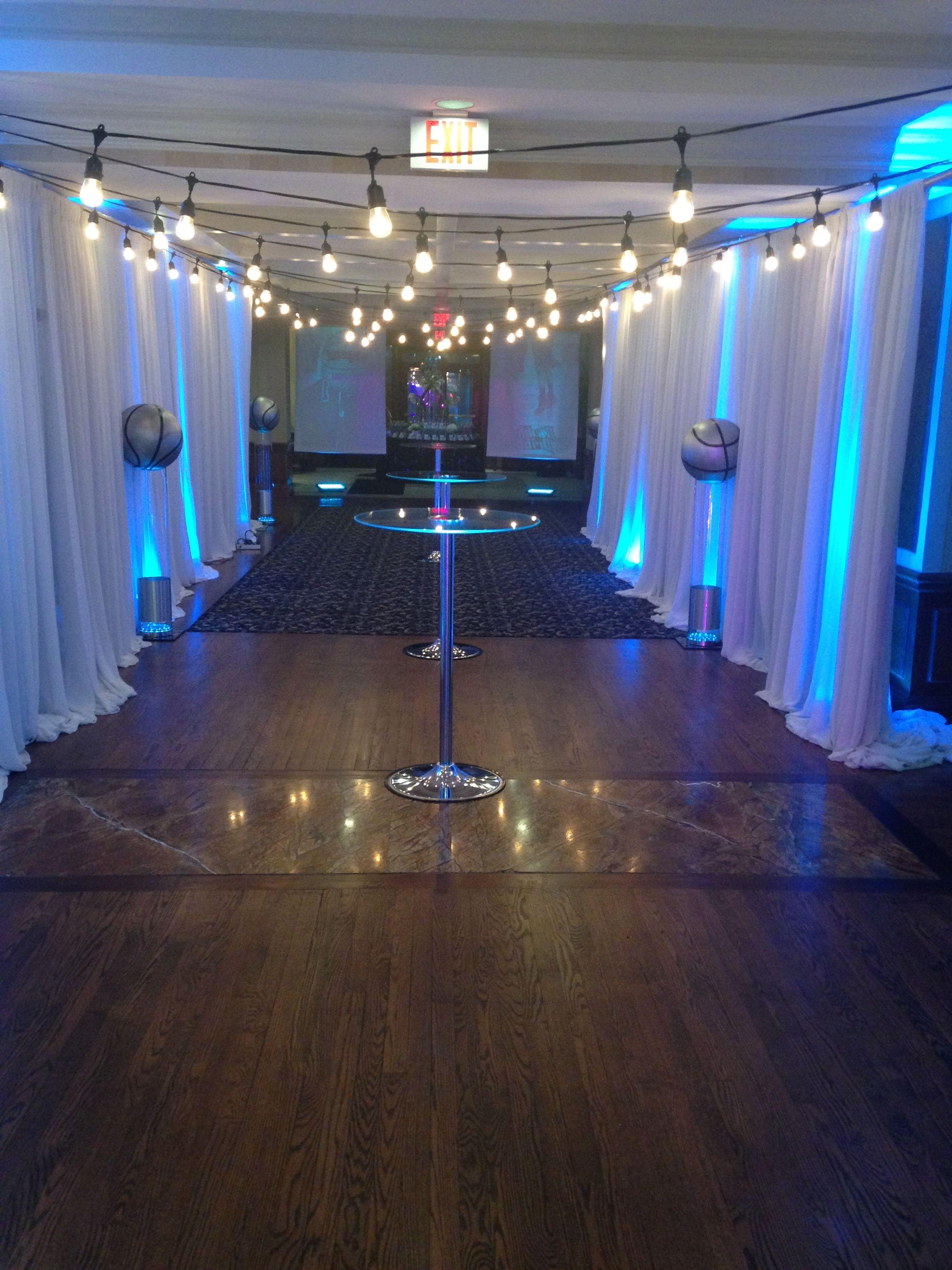 Www Pegasusentertainment Mitzvah Lelights Drape Uplights Entrancehallway