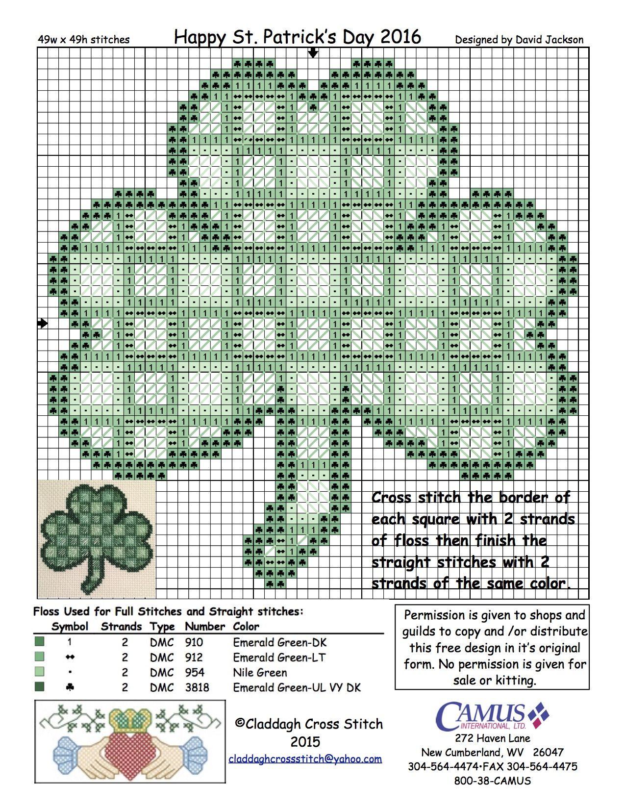 Celtic Shamrock by Claddagh Cross Stitch via Camus International ...