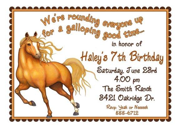 Horse Invitations Birthday Party Invites