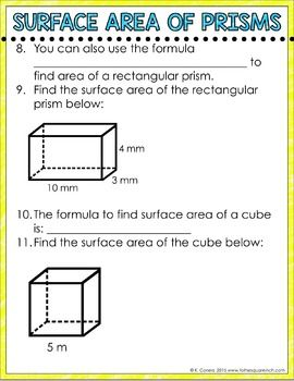 Surface Area of Rectangular Prisms Digital... by To the Square Inch- Kate Bing Coners | Teachers Pay Teachers