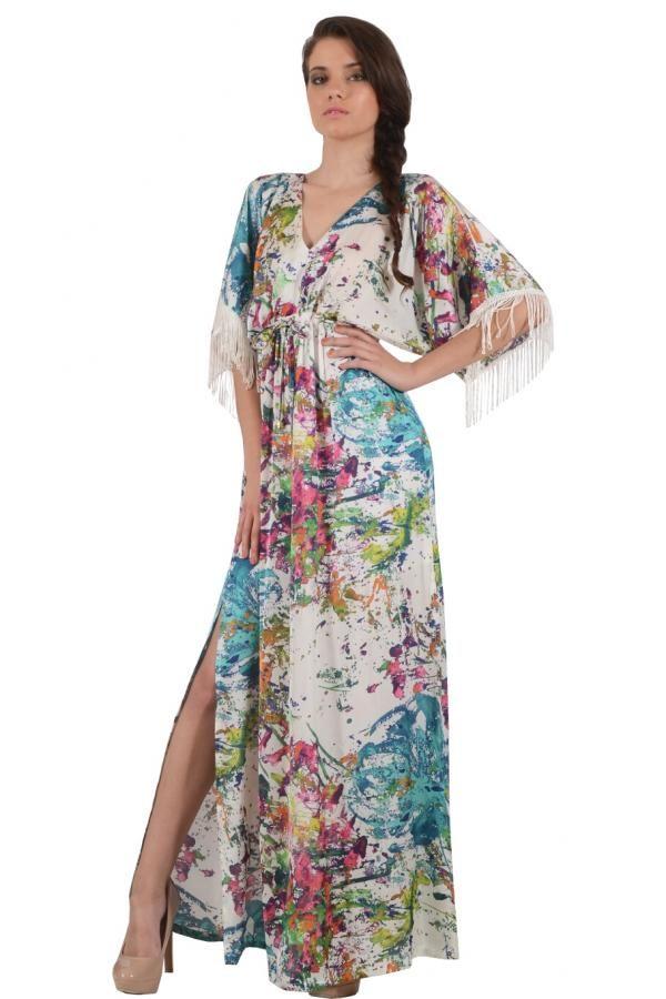 43ff3885f807 Φόρεμα καφτάνι εμπριμέ μεταξωτό μακρύ σε ριχτή γραμμή με δέσιμο κάτω από το  στήθος εμπρός και