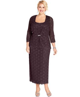 R&M Richards Plus Size Sleeveless Sequined Lace Dress and Jacket