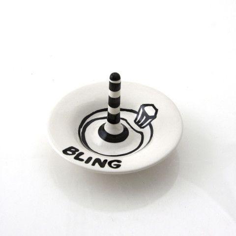 Ceramic Ringholder Bling with Black Stripes Great wedding shower gift bridesmaid gift