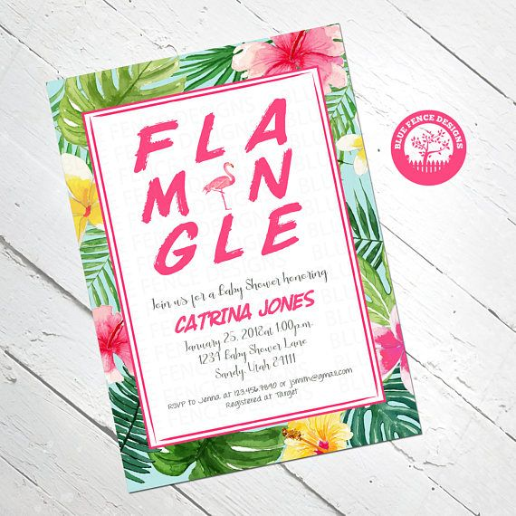 flamingo baby shower invitation girl baby shower invite tropical baby shower baby sprinkle
