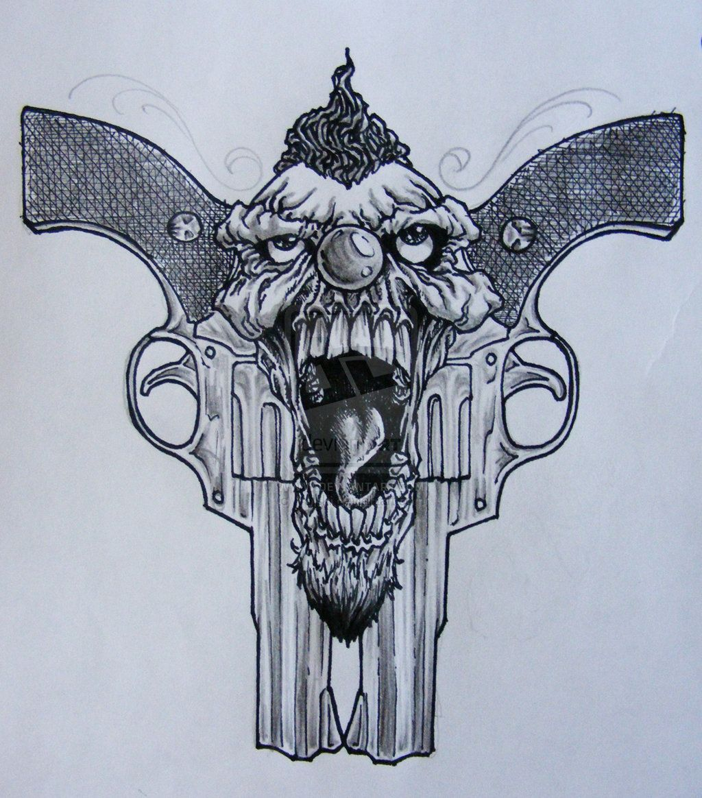 Drawings Easy Skull With Guns: Clown Tattoo Arm Clowns Design Art
