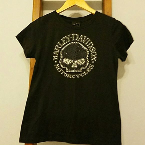 Harley Davidson ladies black tee Cotton tee, not very form fitting and his a high scoop neck. Has some bling on the willie g. Harley-Davidson Tops Tees - Short Sleeve