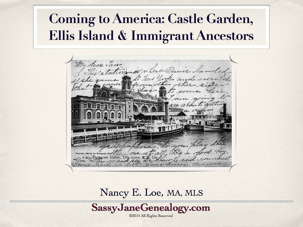 Immigrant Ancestors Presentation for Genealogy Societies and Conferences http://www.sassyjanegenealogy.com/immigrant-ancestors-talk/