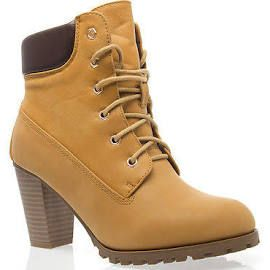 Women Camel Lace Up Chunky High Heel Construction Boot Ankle Bootie ... 7e79ee4c0f