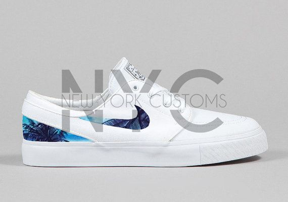 Nike Janoski Canvas White Blue Palm Trees Custom Men by NYCustoms