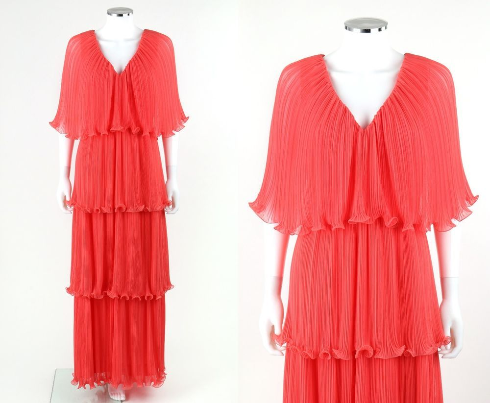 Vtg cus coral pink chiffon tiered accordion pleated evening