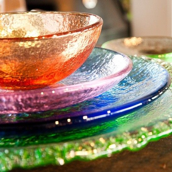 Recycled Glass Dinnerware by Fire and Light | Home ...