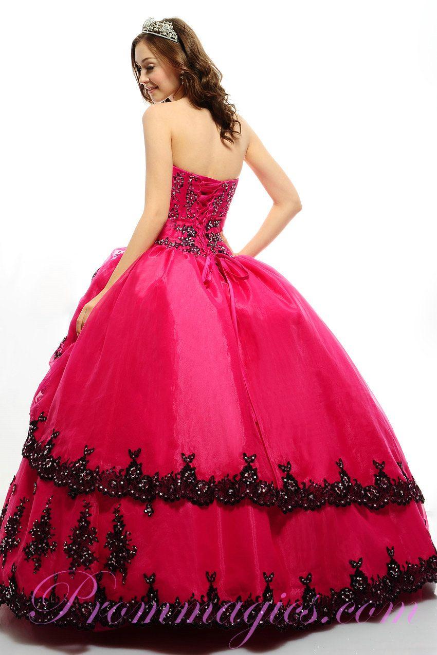 quinceanera+dresses | Cheap Handmade Beading Strapless Fuschia Quinceanera Dresses 2013
