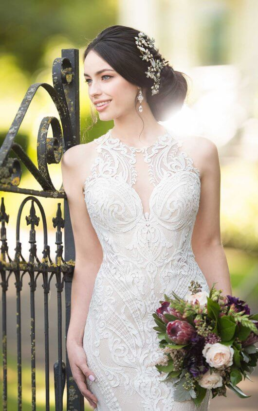 Lace Wedding Gown with High Neckline | Lace wedding gowns, Lace ...