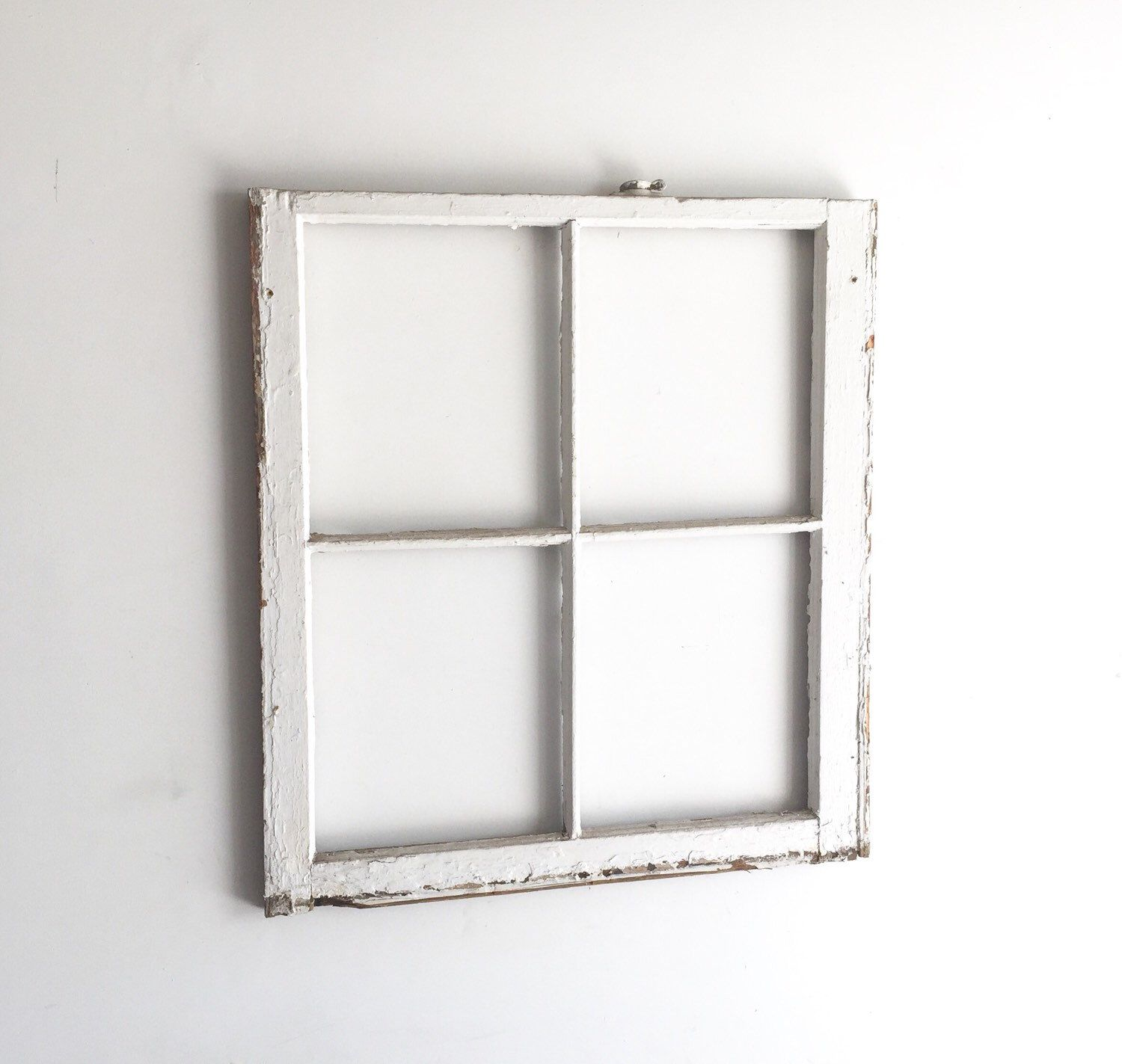 No Glass Vintage 4 Pane Window Frame 28 X 32 White Rustic Beach Antique Wood Wedding Home Picture Holiday Decor Window Frame Frame Vintage Windows