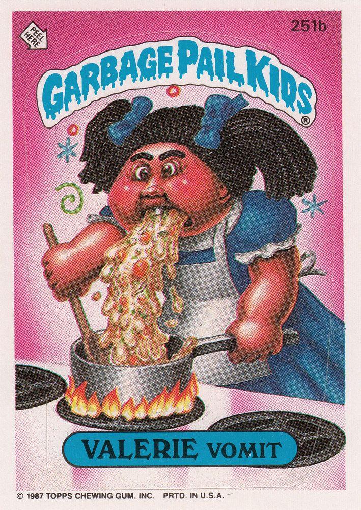 Garbage Pail Kids Series 7 251b Valerie Vomit Garbage Pail Kids Garbage Pail Kids Cards Pail