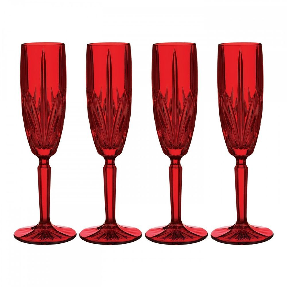 New Marquis By Waterford Brookside Red Champagne Flutes Glasses S 4 125 Marquisbywaterford Brookside Champag With Images Red Champagne Champagne Flute Set Flute Glass