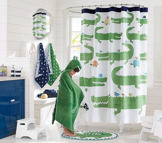 Alligator Shower Curtain With Images Kid Bathroom Decor Kids