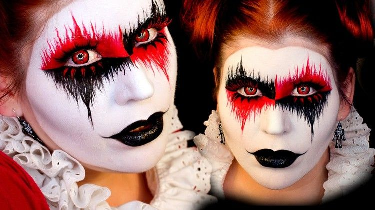 maquillage d 39 halloween femme 2016 teint blanc neige yeux en noir et rouge et harley quinn. Black Bedroom Furniture Sets. Home Design Ideas