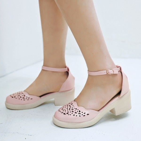 e7d0273987 4 Color Hollow Out Round Toe Mary Janes Ankle Strap Womens Low Heel Pumps  Shoes