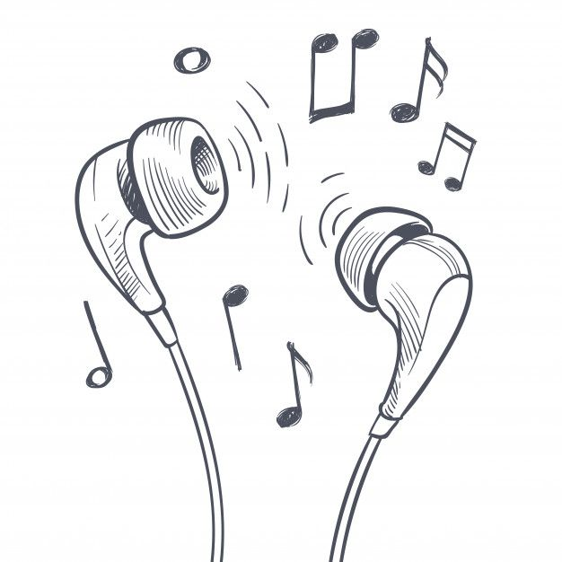 Hand Drawn Headphones And Musical Notes Doodles Electronic Music Concept.