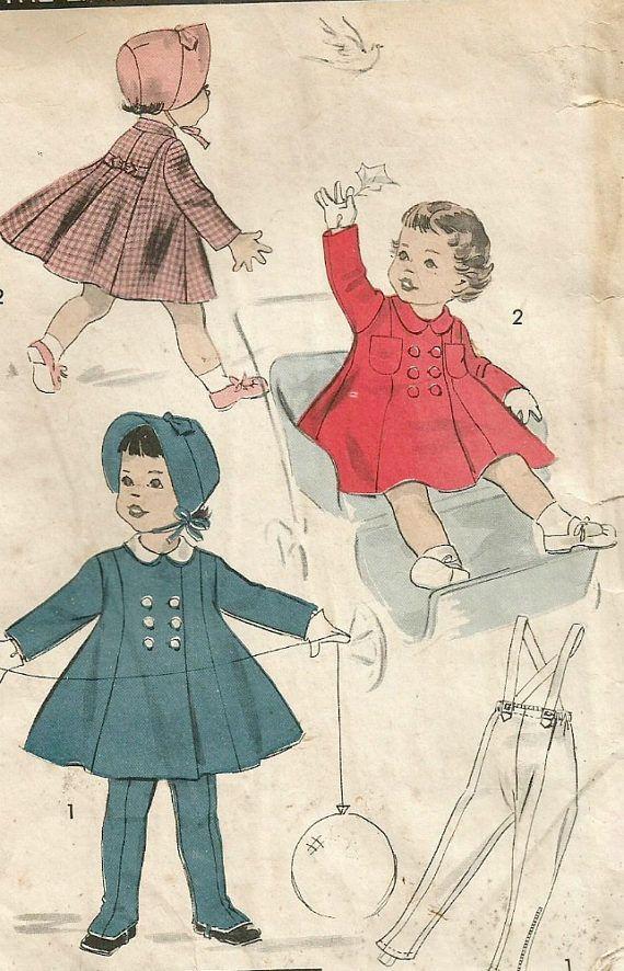 Vintage 50s Advance 8431 Toddler Girls Princess Seam Winter ...