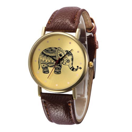 Pu leather band fashion teen unisex brown watch