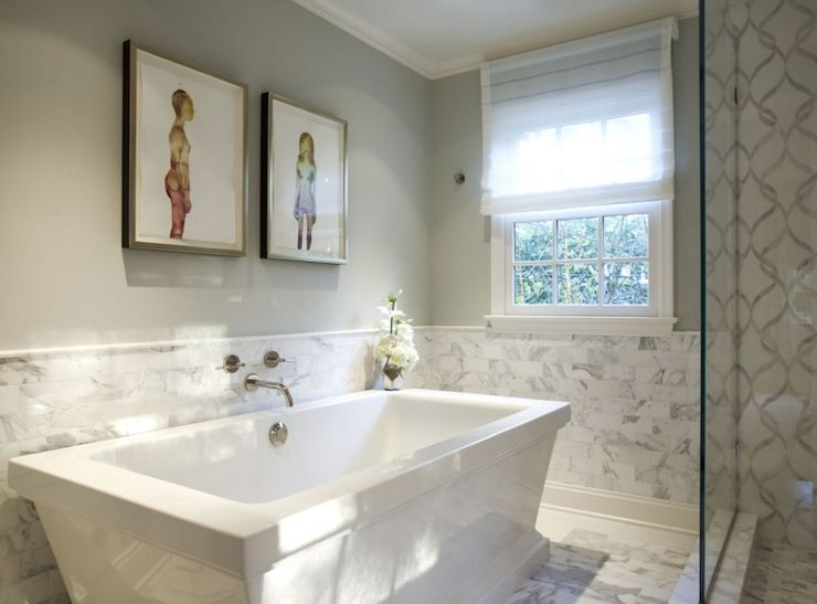 Tile Wainscoting Bathroom marks & frantz - bathrooms - marble wainscoting, white marble