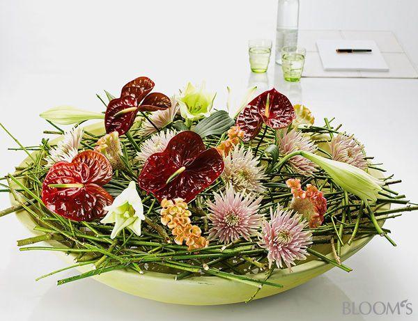 Floristik Ideen Blumige Schalen Deko Mit Zweigegerüst Floral