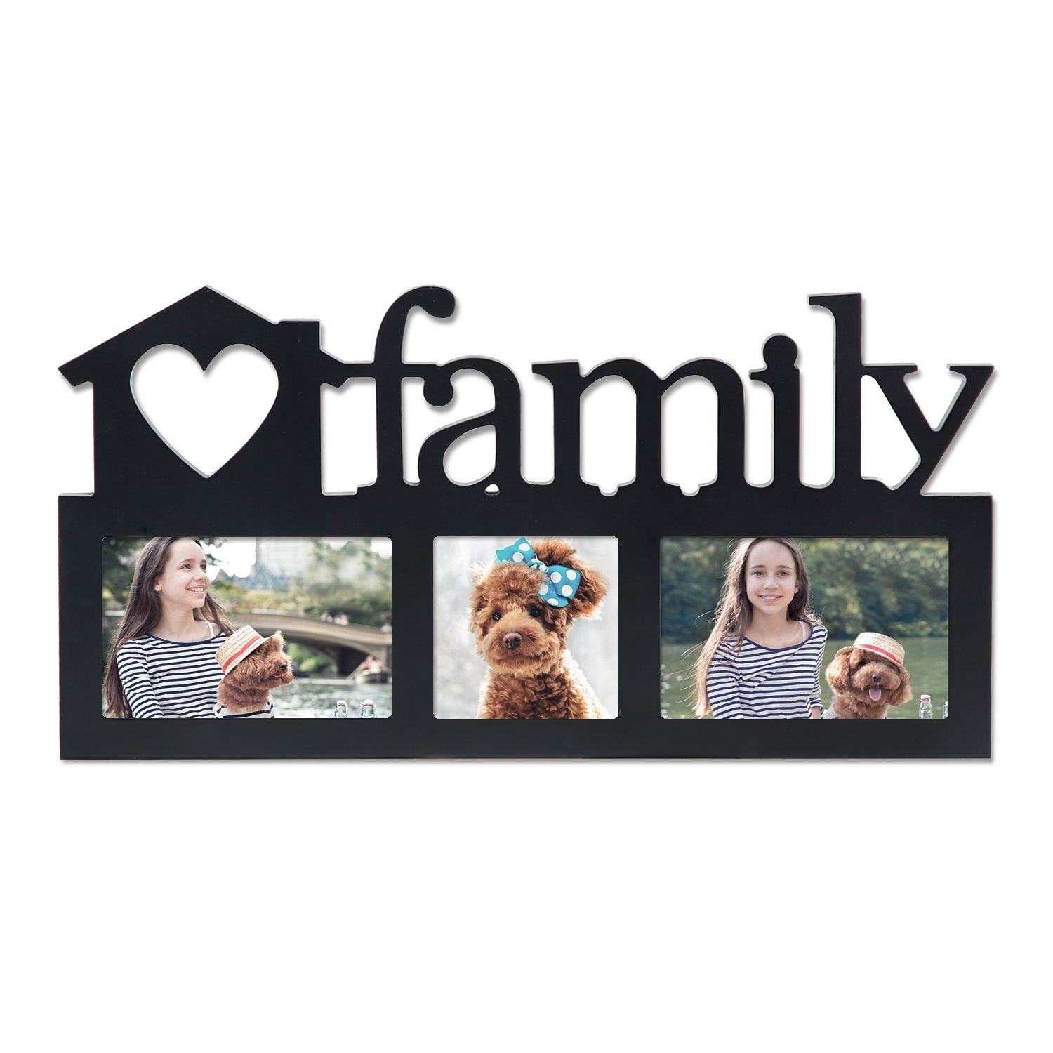 Adeco Decorative Black Wood Family Wall Hanging Picture Photo Frame 3 Openings 4x6 4x4