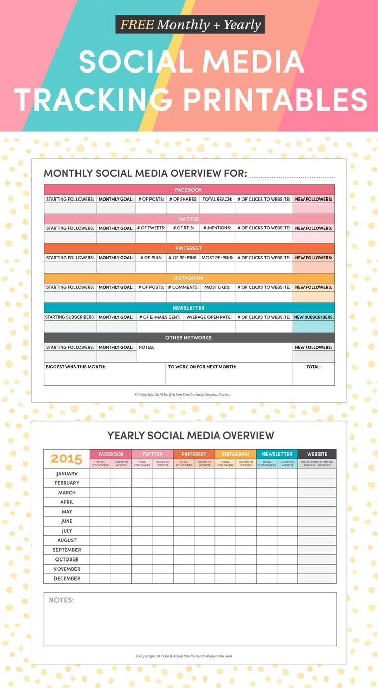 Free Monthly And Yearly Social Media Tracking Printables To Make Your Matter In 2017 Half Asleep Studio Tips