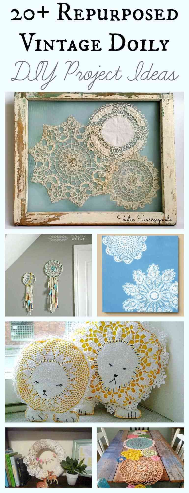 Doily Crafts And Upcycling Ideas For Vintage Doilies As Granny Chic Decor Doilies Crafts Doilies Diy Diy Craft Projects