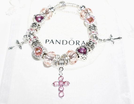 Pretty Pink Cross Authentic Jared Pandora bracelet Jareds