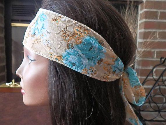 Bohemian Aqua Floral headband by myfashioncreations, $11.99