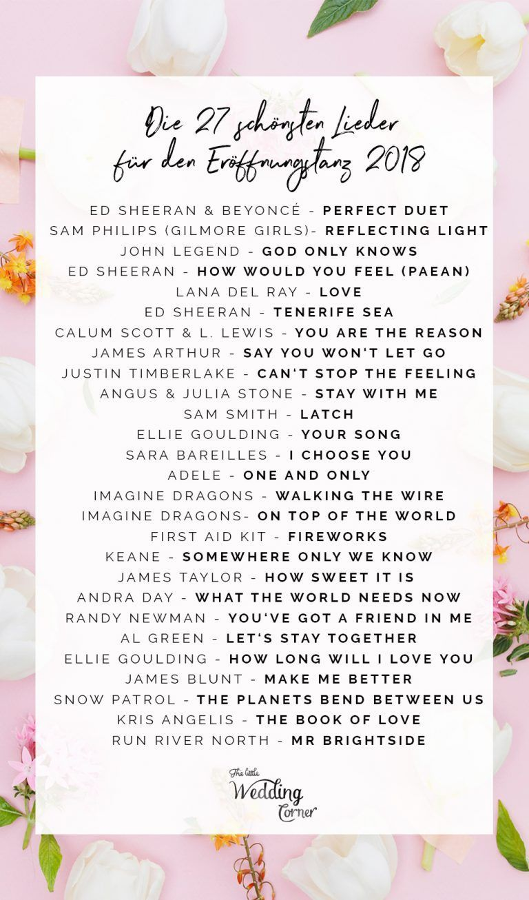 Die Schonsten Hochzeitslieder Fur Den Eroffnungstanz Modern 2018 Den Die Eroffnungstanz Fur Hochzei Wedding Songs Beautiful Weddings Wedding Beauty Plan