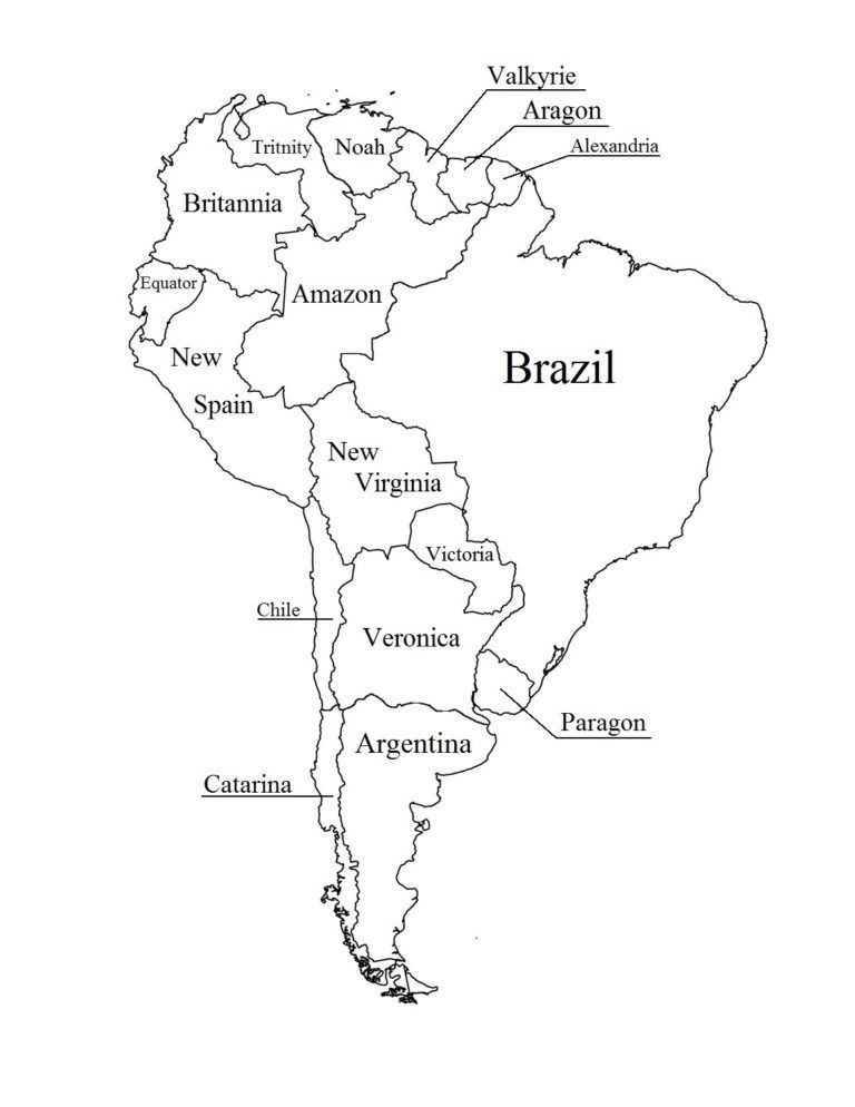 South America Coloring Page With Country Names South America