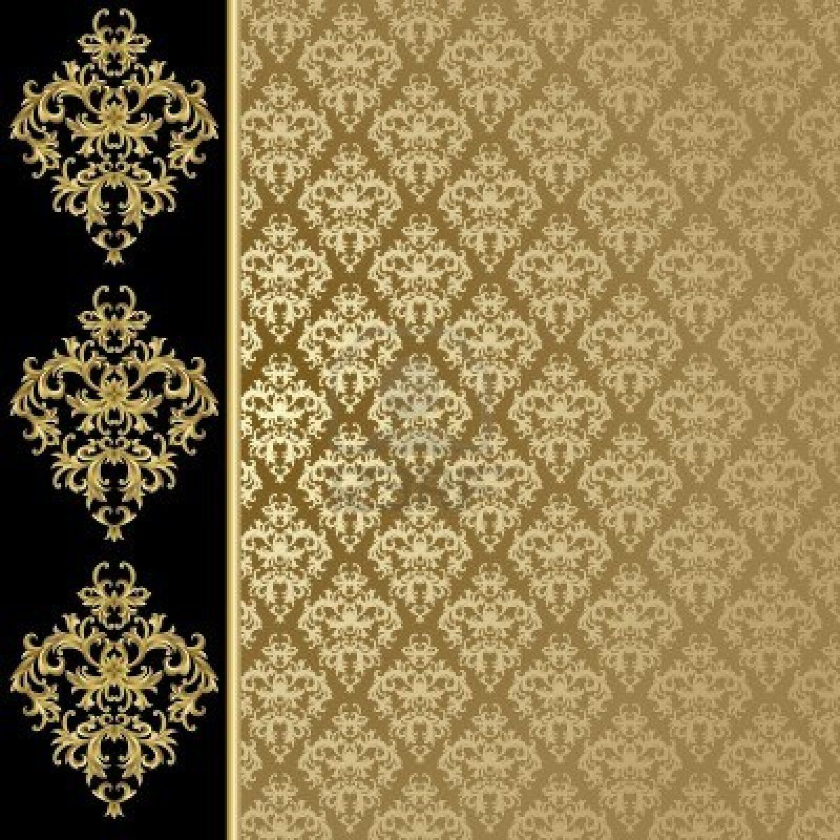 Golden Design Wallpaper : Black and gold background with abstract plant stock photo