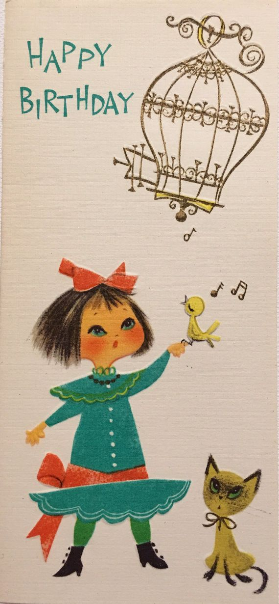 Vintage Birthday Card Little Girl Kitten Bird Midcentury Nos Unused