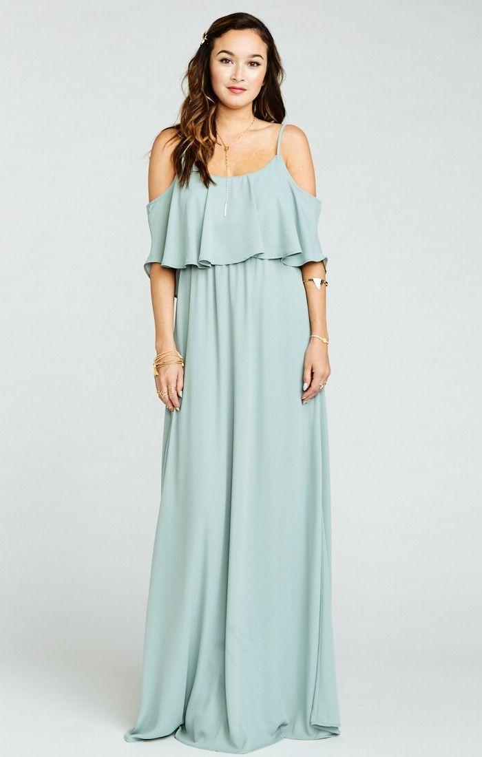 Caitlin Ruffle Maxi Dress Silver Sage Crisp