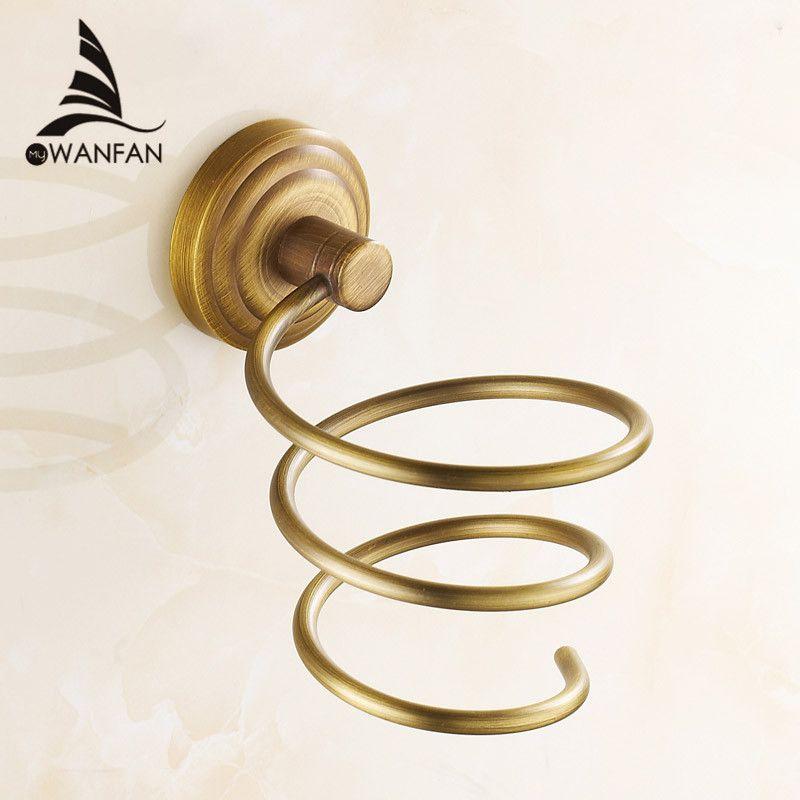 Antique Brass Hair Dryer Rack Bathroom Accessories Hairdryer
