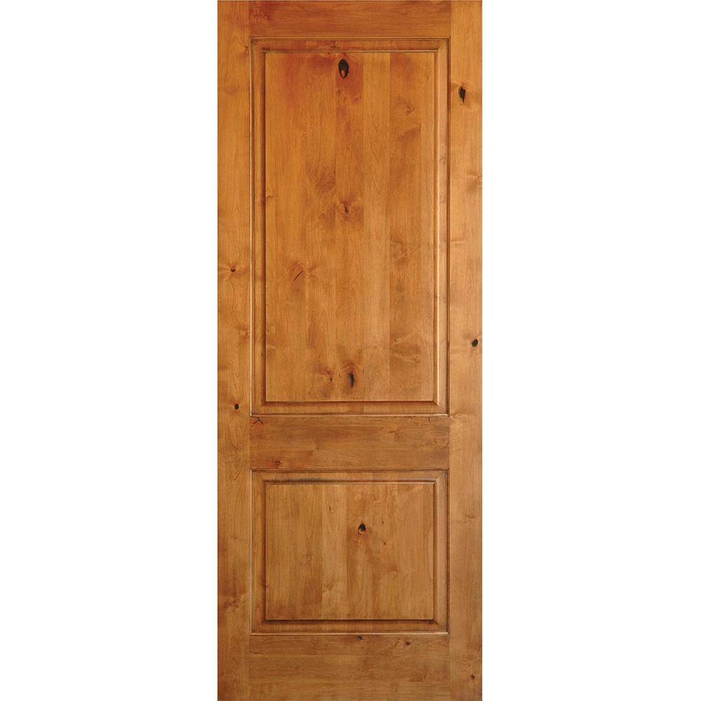 Krosswood Doors 32 In X 80 In Rustic Knotty Alder 2 Panel Square Top Solid Wood Stainable Interior Door Slab Ae 3053280slb The Home Depot Wood Doors Interior Wood Front Doors Prehung Interior Doors