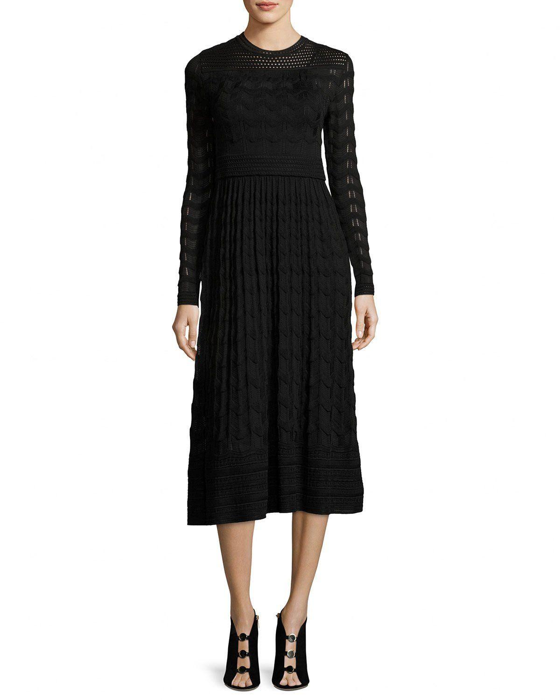 03fa60b178a6 M Missoni Long-Sleeve Jewel-Neck Midi Dress | aw17 | Dresses, Long ...