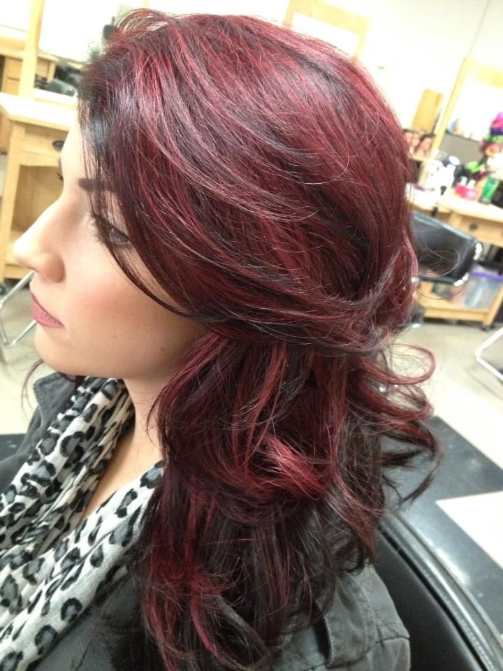 My New Hair Dark Brown With Red Violet Light Hair Color Hair Red Brown Hair