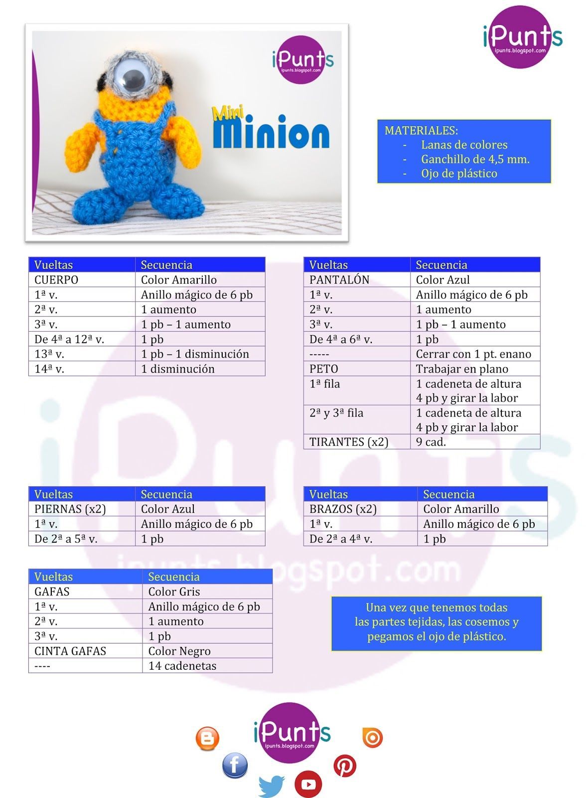 amigurumi patron minion ipunts ganchillo facil | Amigurumi ...