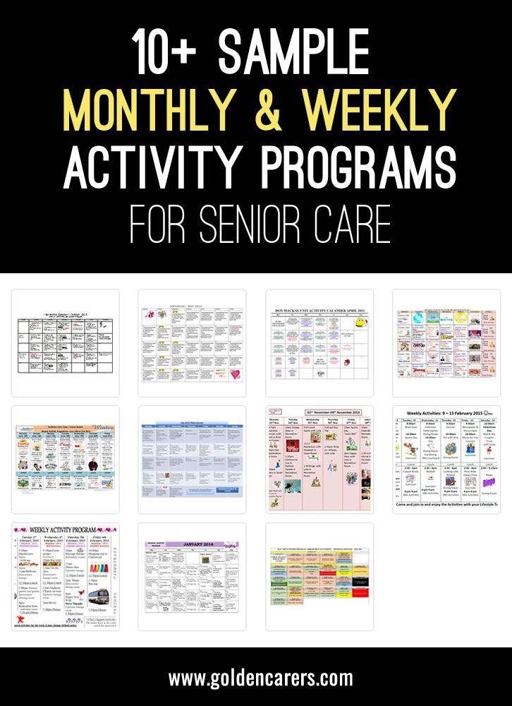 Sample Activities Calendars Pinterest Activities, Dementia and