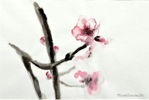 Encre De Chine Et Aquarelle Originale Fleur De Par