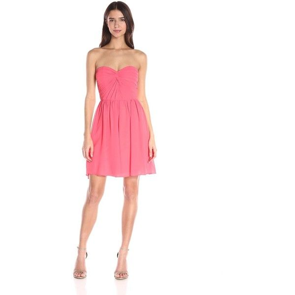 Minuet Women's Twist Ruched Bodice Short Dress, Coral, Small ($101) ❤ liked on Polyvore featuring dresses, short dresses, coral cocktail dress, bridesmaid dresses, white strapless cocktail dress and coral bridesmaid dresses