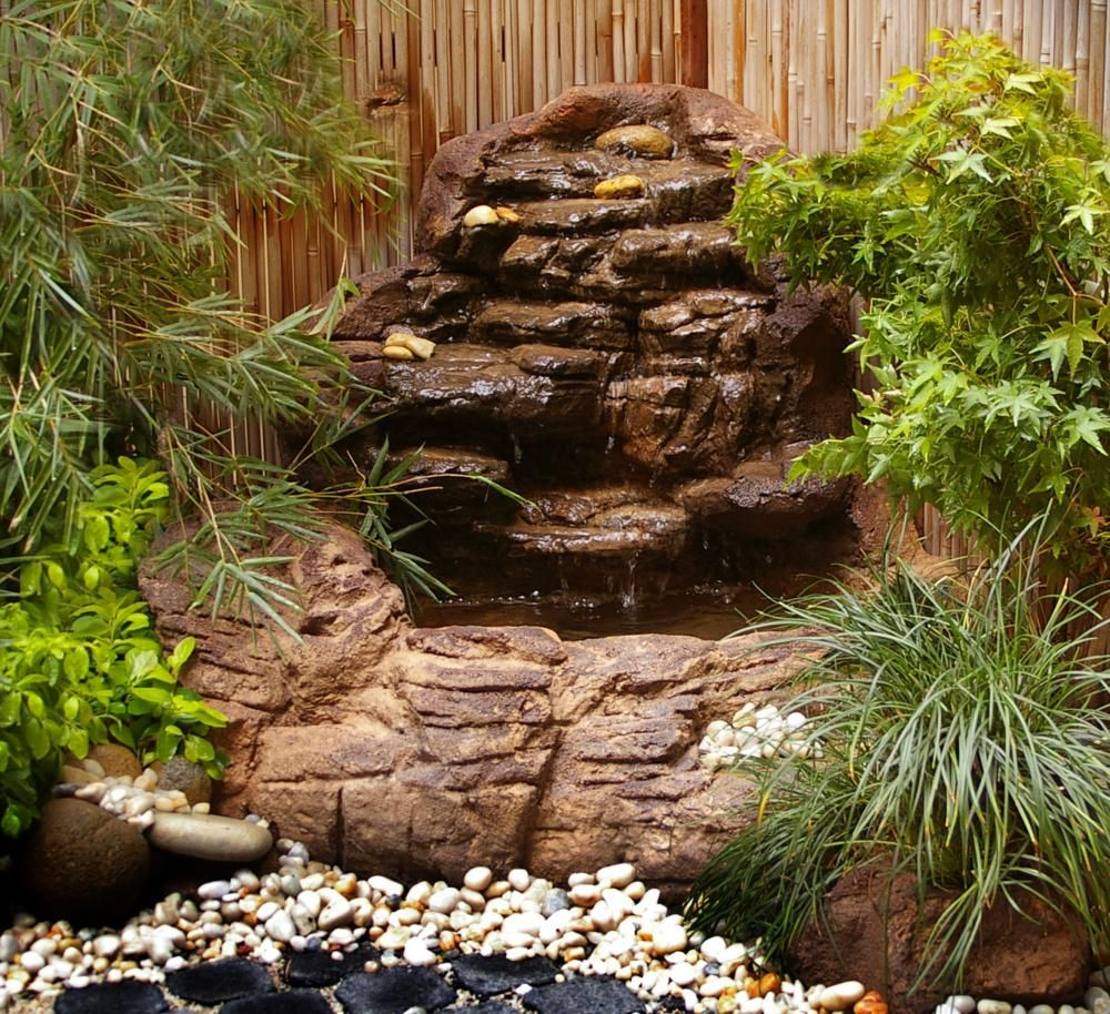 Garden ponds corner waterfall scw 004 garden for Fish pond rocks