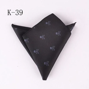 Wholesale Fashion Men Pocket Square Party Handkerchief Black with Character Skullmodlilj #pocketsquares