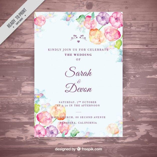 Invitación de boda con flores de acuarela Vector Gratis \u2026 Wedding \u2026 - invitaciones de boda gratis