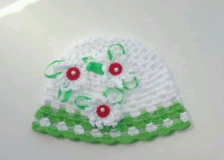 gorrito blanco y verde | Crochet | Pinterest | Verde y Blanco